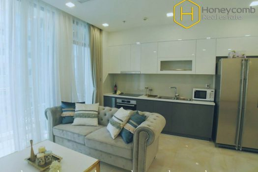 You will be fascinated with high-class furniture and warm tones of this 2 bed-apartment at Vinhomes Golden River 2 - Apartment for rent in HCMC - honeycomb.com.vn
